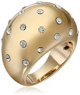 Chamak by Priya Kakkar Gold Plated Crystal Dots Round Raised Ring, Size 7