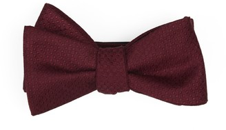 Tie Bar Dotted Spin Burgundy Bow Tie