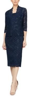 SL Fashions Petite 2-Pc. Lace Jacket & Midi Dress Set
