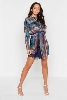 boohoo Satin Paisley Print Tie Shirt Dress