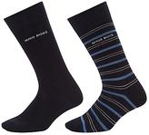 Hugo Boss Boss Stripe Plain Socks, Pack Of 2, Navy