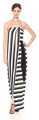 Halston Women's Strapless Striped Tie Waist Detail Gown