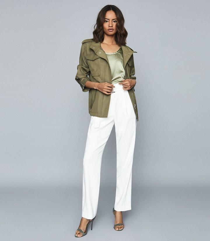 Reiss Nia - Twill Utility Jacket in Khaki