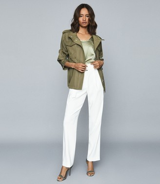 Reiss Nia - Twill Utility Jacket in Khaki