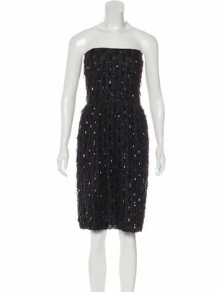 Oscar de la Renta Embellished Strapless Dress Black
