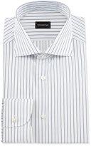 Ermenegildo Zegna Pinstripe Woven Dress Shirt, White/Navy