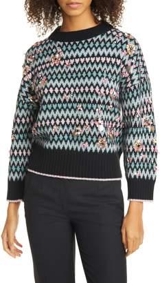Kate Spade Embellished Merino Wool & Cashmere Fair Isle Sweater