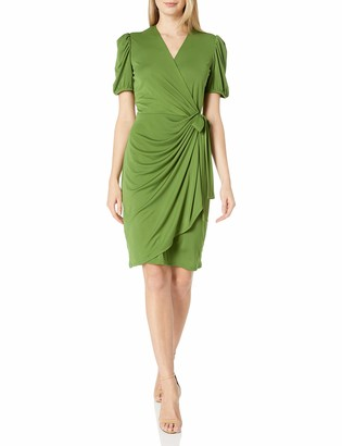 Lark & Ro Amazon Brand Women's Gathered Puff Sleeve Wrap Dress