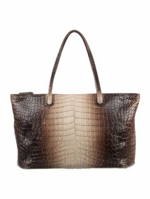 Ethan K Crocodile Skin Tote Bag Brown