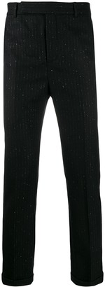 Saint Laurent Metallic Pinstripe Tailored Trousers