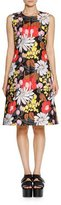 Marni Floral-Jacquard Sleeveless Dress, Black/Multi