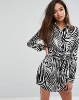 PrettyLittleThing Zebra Print Shirt Dress