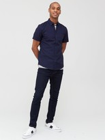 Very Short Sleeved Button Down Oxford Shirt - Navy