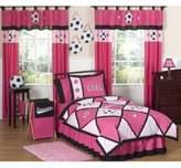 JoJo Designs Sweet Soccer Twin 4-Piece Comforter Set in Pink