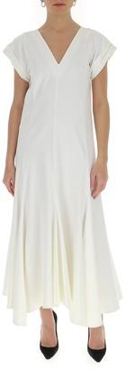 Jil Sander Short-Sleeved V-Neck Dress