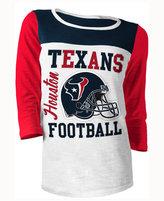 5th & Ocean Women's Houston Texans Three-Quarter Glitter T-Shirt