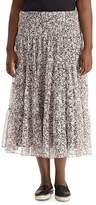 Lauren Ralph Lauren Plus Floral Print Chiffon Midi Skirt