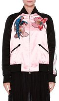 Valentino Tropical Dream Embroidered Varsity Jacket, Pink/Multi