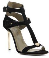 Versace Metallic Heel Suede Sandals