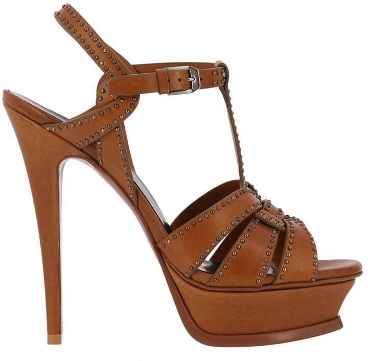 Saint Laurent Heeled Sandals Tribute Sandal In Smooth Leather With Mini Metal Studs And Stiletto Heel