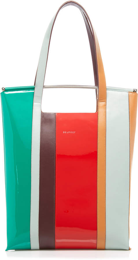 DELPOZO Striped Leather Tote