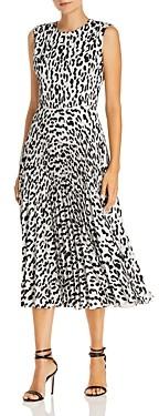 Jason Wu Leopard Print Pleated Midi Dress