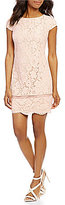 Vince Camuto Cap Sleeve Lace Scallop Dress