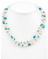 Honora Silver Turquoise & 6-10mm Pearl 40in Necklace.