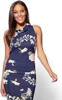 New York & Co. 7th Avenue Funnel-Neck Top - Navy Floral - Petite