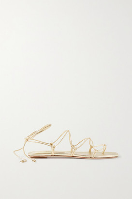PORTE & PAIRE Knotted Leather Sandals - Gold