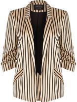 River Island Womens Pink stripe print ruched sleeve blazer
