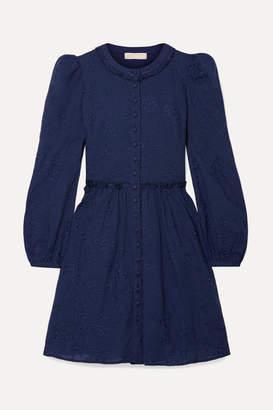 MICHAEL Michael Kors Embroidered Cotton-voile Mini Dress - Navy
