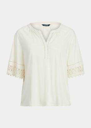 Ralph Lauren Lace-Trim Cotton Jersey Top