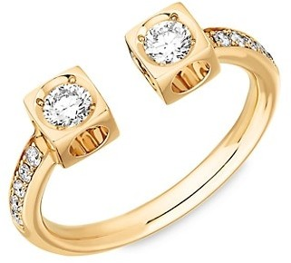 Dinh Van Le Cube 18K Yellow Gold & Diamond Pave Large Open Ring