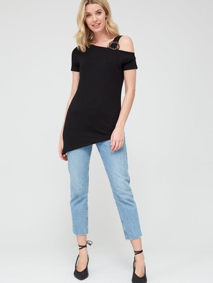 Very Buckle Strap Asymmetric Tunic - Black