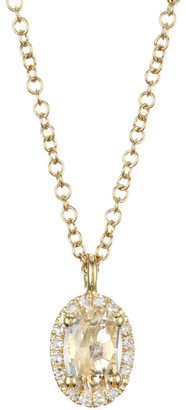 Ef Collection 14K Yellow Gold, Topaz & Diamond Oval Pendant Necklace