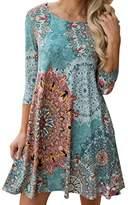 AmyDong Hot Sale Womens Sexy Printing Dress Long Sleeve Vintage Boho Maxi Evening Party Beach Floral Dress