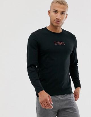 Emporio Armani slim fit Eva eagle logo long sleeve lounge t-shirt in black