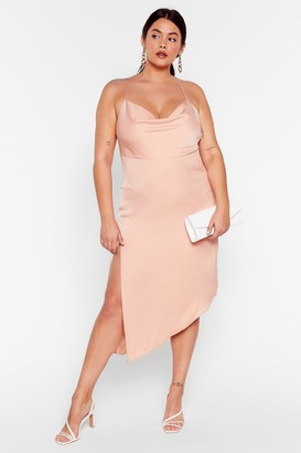 Nasty Gal Womens It's Cowl or Never Plus Asymmetric Dress - Apricot