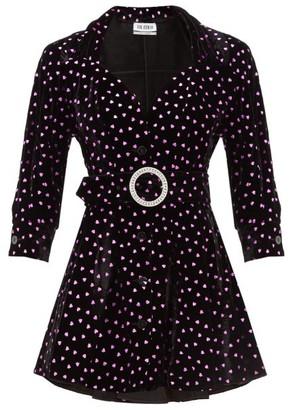 ATTICO The Lame Hearts Velvet Mini Dress - Womens - Black Multi