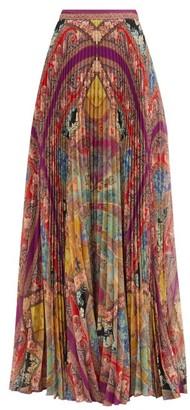Etro Devon Paisley-print Plisse Skirt - Pink Multi