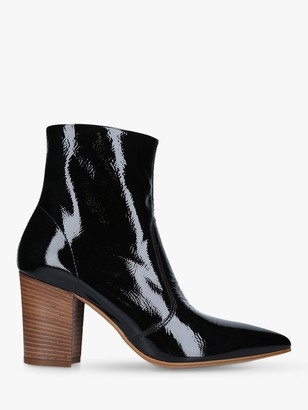 Carvela Sculpture Patent Pointed Toe Ankle Boots, Black