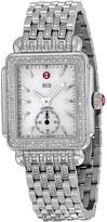 Michele Deco White Pearl Diamond Bezel Ladies Watch