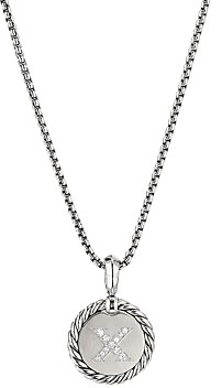 David Yurman Sterling Silver Cable Collectibles Initial Charm Necklace with Diamonds, 18