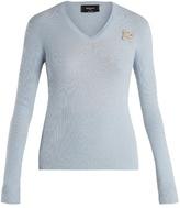 Rochas Logo-embellished ribbed-wool sweater
