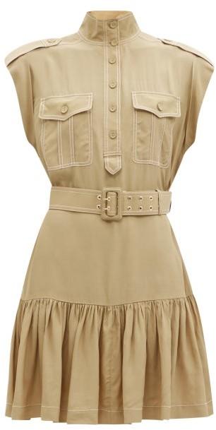 Zimmermann Topstitched Utility Twill Mini Dress - Khaki
