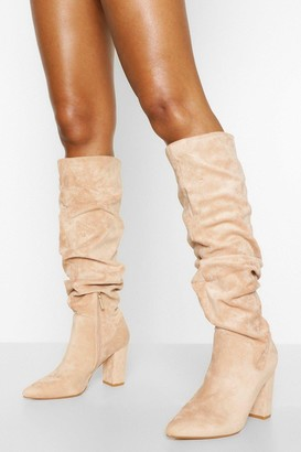 boohoo Slouched Pointed Toe Block Heel Knee High Boots
