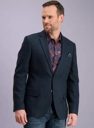 Tu Navy Wool Blend Slim Fit Herringbone Jacket