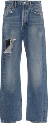 A Gold E Agolde Distressed Rigid High-Rise Jeans
