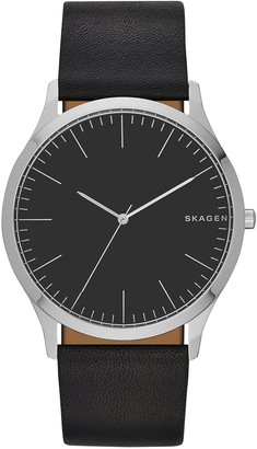 Skagen Men's Holst Quartz Stainless Steel and Leather Watch Color: Black (Model: SKW6329)